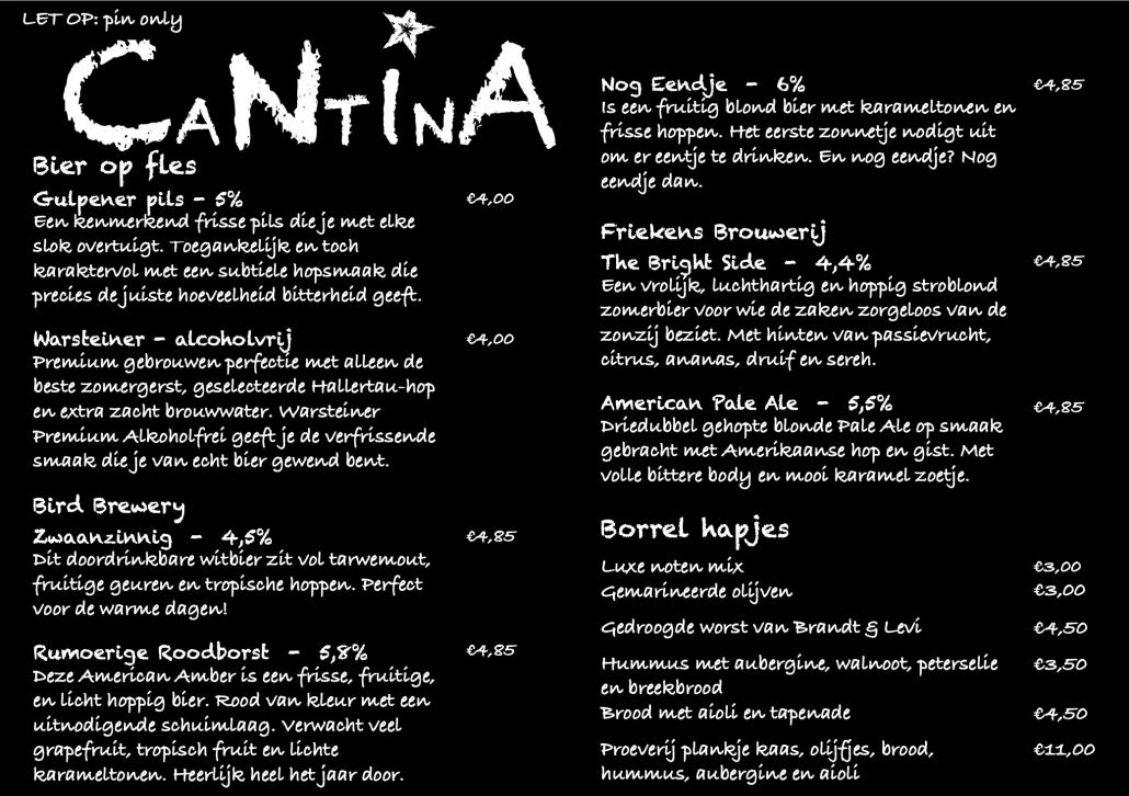 Cantina-borrelmenu-drank-bier-wijn-fris-sap
